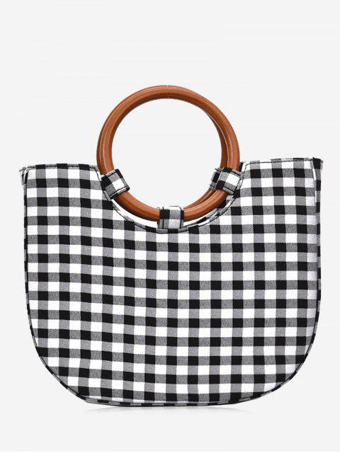 women's Round Handle Plaid Handbag - BLACK  Mobile