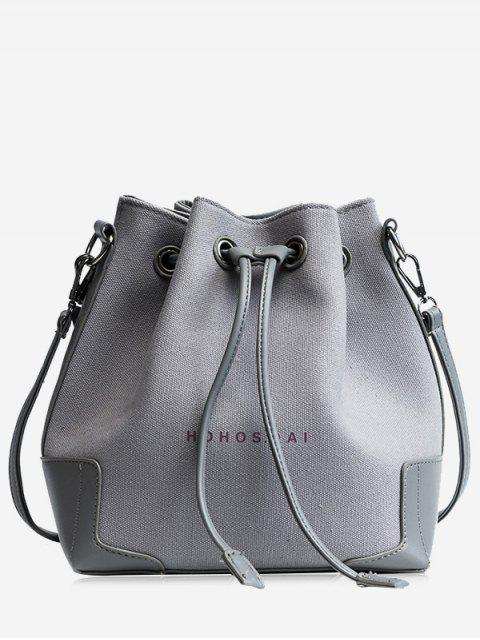 chic Canvas Drawstring Letter Crossbody Bag - GRAY  Mobile