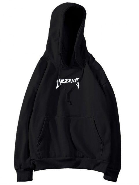 Sudadera con capucha Fleece Kangaroo Pocket Graphic para hombre - Negro XL Mobile