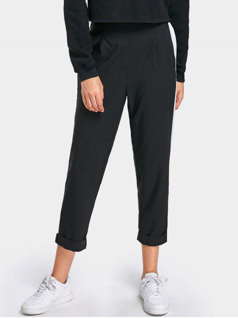 online High Waisted Casual Two Tone Pants - BLACK L Mobile