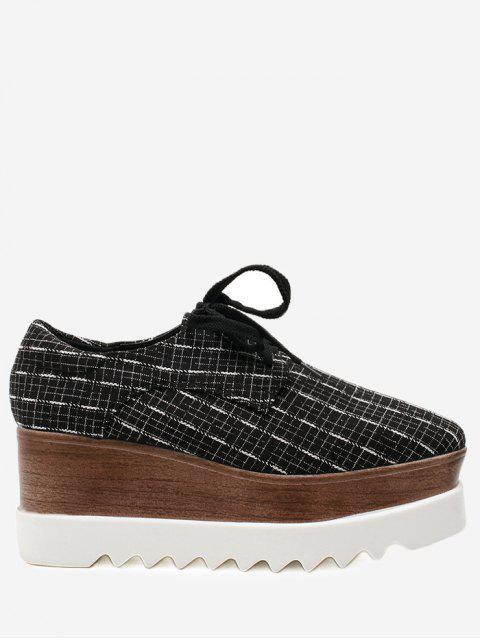 Zapatos de plataforma plaid de punta cuadrada - Negro 39 Mobile