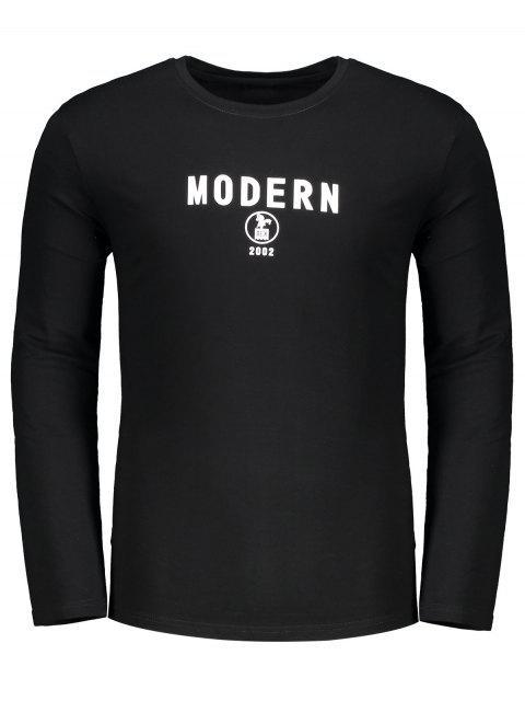 T-shirt Imprimé Lettre Ras du Cou - Noir M Mobile