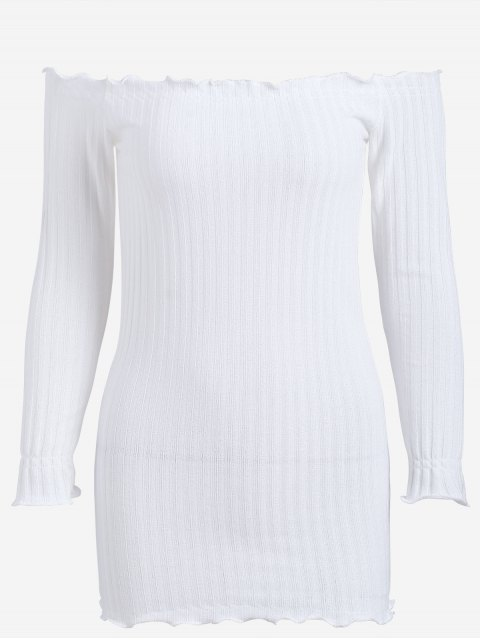 ladies Off Shoulder Mini Knitted Bodycon Dress - WHITE M Mobile