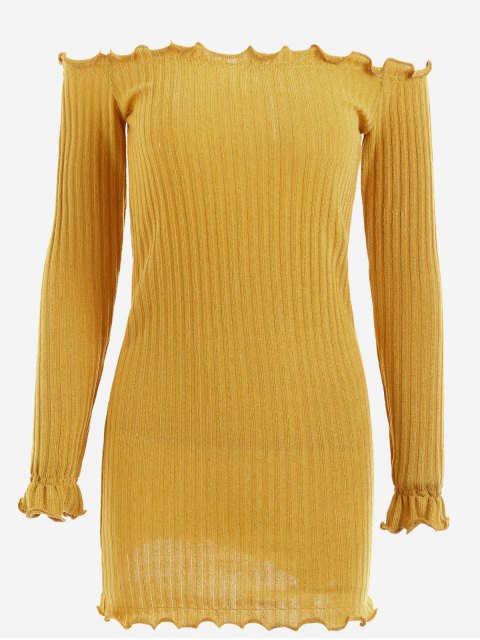 fancy Off Shoulder Mini Knitted Bodycon Dress - GINGER S Mobile