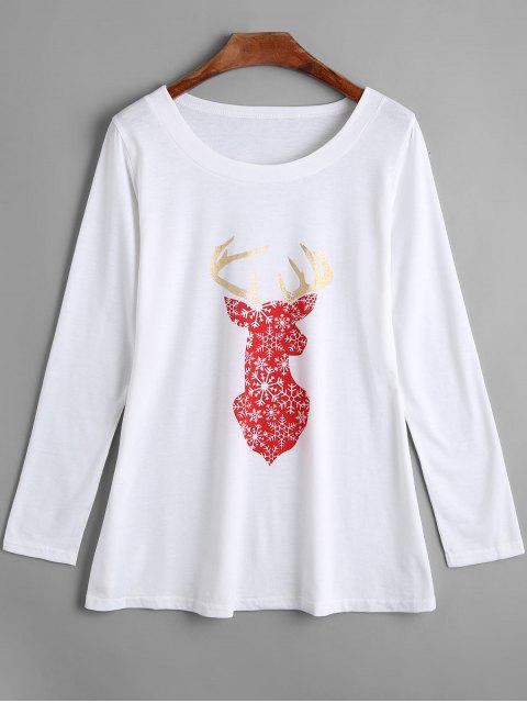 T-shirt à Imprimé élan de Noël à Manches Longues - Blanc L Mobile