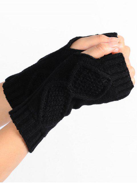 latest Rhombus Stripe Crochet Knitted Fingerless Gloves - BLACK  Mobile