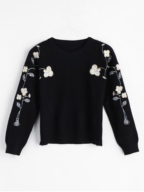 Suéter bordado floral del suéter - Negro Talla única Mobile