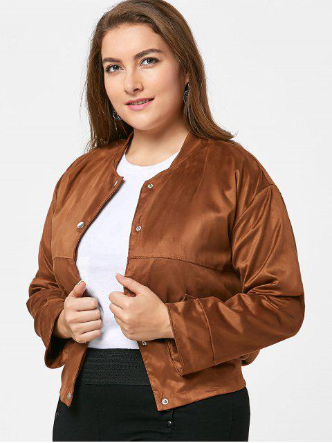 Plus Größe Button Up Faux Wildleder Jacke - Kamelhaarfarbe  3XL Mobile