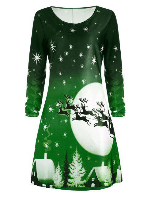 Robe Imprimée Cerf de Noël à Manches Longues - Vert XL Mobile