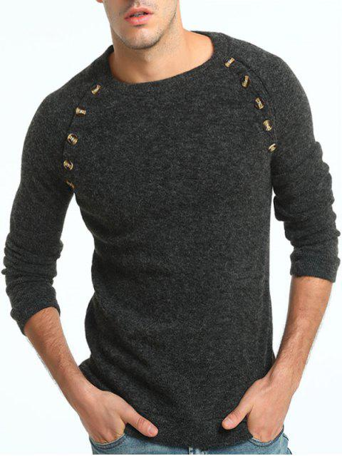 trendy Button Embellished Raglan Sleeve Sweater - DEEP GRAY 3XL Mobile