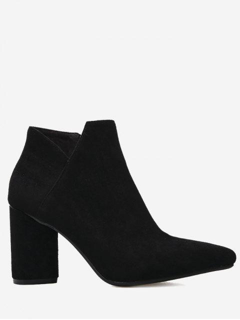 unique Pointed Toe Mid Heel Boots - BLACK 36 Mobile