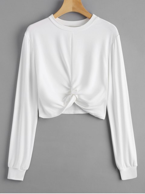 Sudadera con capucha recortada Heathered - Blanco XL Mobile