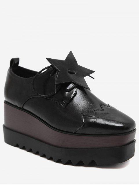 buy Line Pentagram Platform Shoes - BLACK 38 Mobile