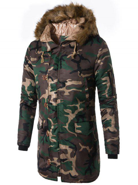buy Zip Up Camo Faux Fur Hooded Coat - GREEN L Mobile