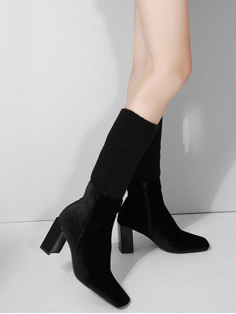 d1e1b1d82 العربية TOPVOP | أسود حذاء ذو كعب عريض وشكل مربع عند الأصابع وطية في ...