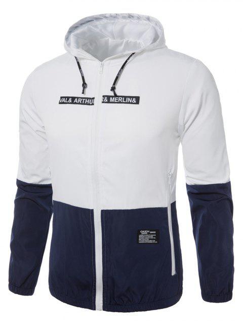 ladies Hooded Braid Embellished Zip Up Lightweight Jacket - WHITE 2XL Mobile