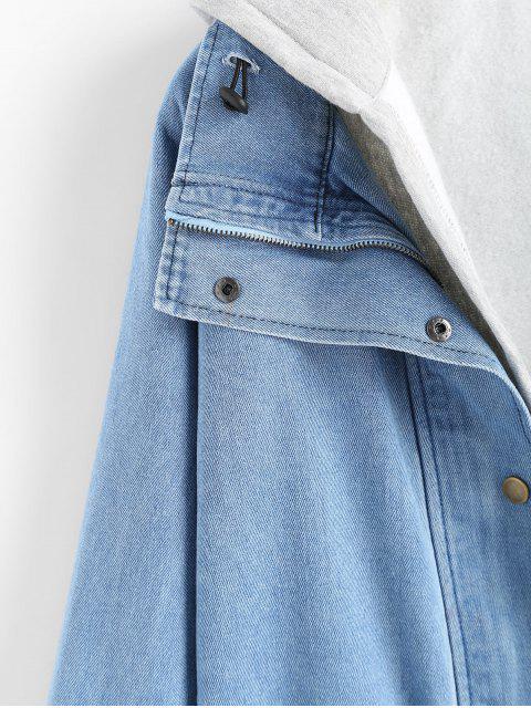 Knopf-Jeansjacke und Kapuzenweste - Hellblau 3XL Mobile