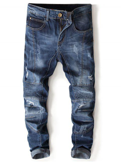 hot Zipper Fly Accordion Pleat Bleached Panel Ripped Jeans - DENIM BLUE 36 Mobile