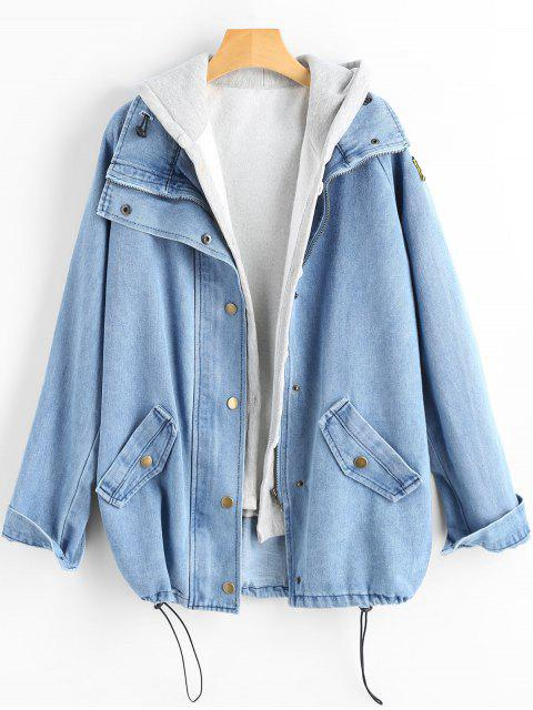 women's Button Up Denim Jacket and Hooded Vest - LIGHT BLUE L Mobile