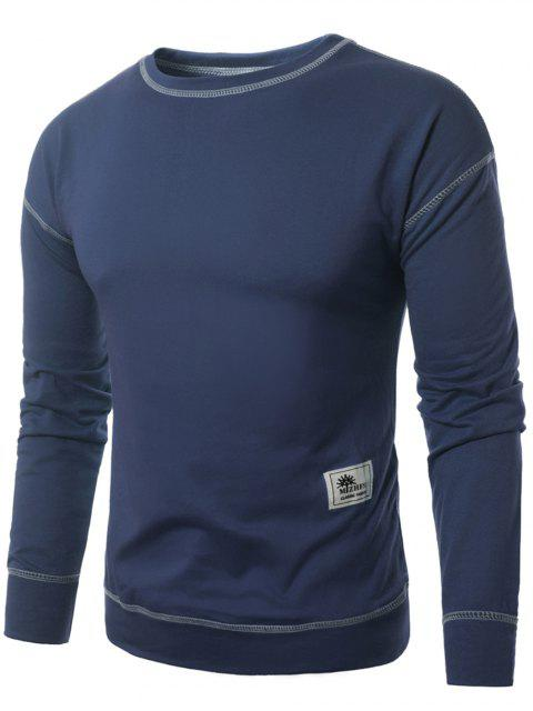 best Crew Neck Applique Suture Pullover Sweatshirt - BLUE 4XL Mobile
