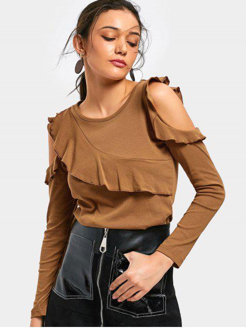 Camiseta con dobladillo con volantes en hombros fríos - Marrón S Mobile