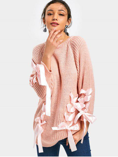 unique Lace Up Chunky Sweater - PINK ONE SIZE Mobile