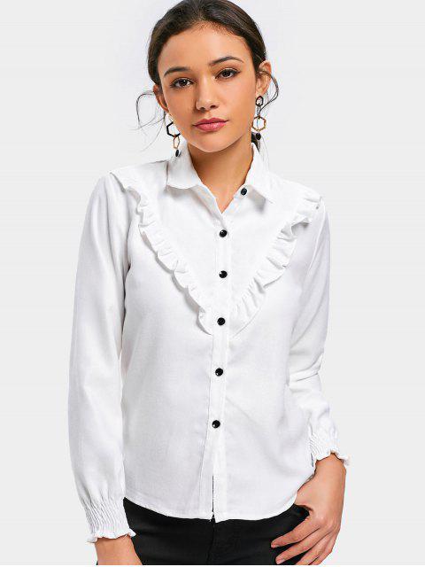 Chemise boutonnée à volants - Blanc XL Mobile