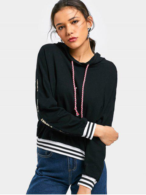 ladies Letter Graphic Striped Drawstring Hoodie - BLACK ONE SIZE Mobile