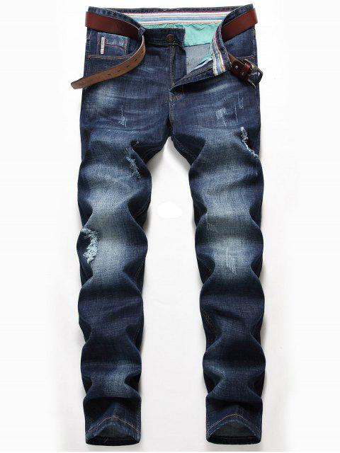 Whisker Pattern Distressed Verblasste Jeans - Denim Blau 34 Mobile