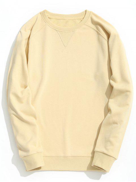 best Slim Fit Crew Neck Sweatshirt - APRICOT XL Mobile