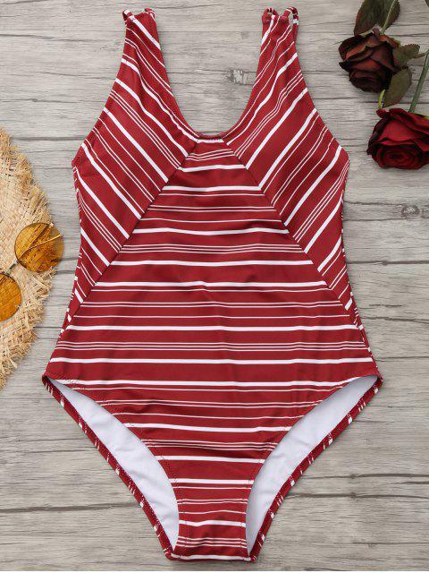 Traje de baño de una pieza de corte alto a rayas - Rojo ladrillo L Mobile