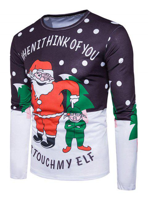 Crew Neck Christmas Funny Santa Print Ugly T-shirt - Colormix L Mobile