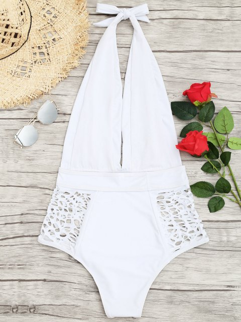 sale High Waisted Plunge Neck Hollow Out Tummy Control Swimsuit - WHITE L Mobile