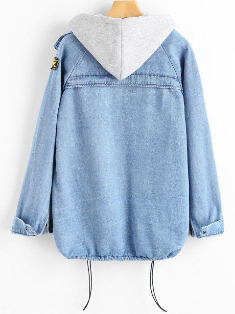 latest Button Up Denim Jacket and Hooded Vest - LIGHT BLUE XL Mobile