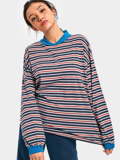Drop Shoulder Striped Longline Sweatshirt - Stripe
