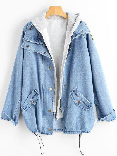 Button Up Denim Jacket And Hooded Vest - Light Blue Xl