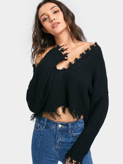 Oversized Frayed Cropped Pullover Sweater - Black