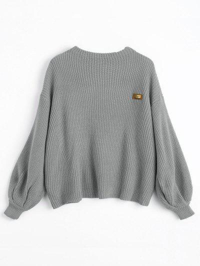ZAFUL Oversized Chevron Patches Pullover Sweater - Gray 344fedfae