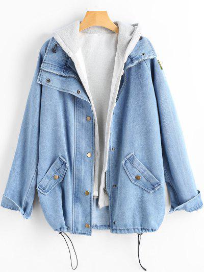 Button Up Denim Jacket And Hooded Vest - Light Blue Xl
