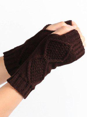 Rhombus Stripe Crochet Knitted Fingerless Gloves