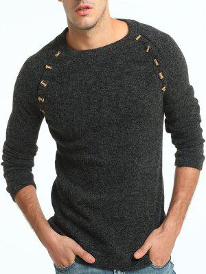 Button Embellished Raglan Sleeve Sweater