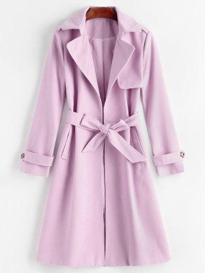 Belted Lapel Coat with Pockets