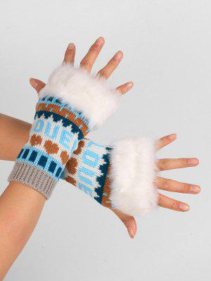 Letter and Heart Embellished Fingerless Knitted Gloves
