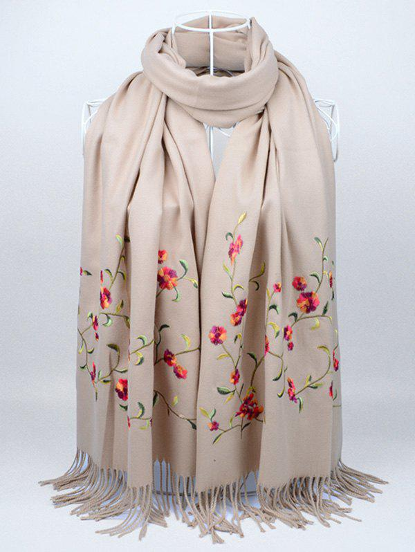 Soft Floral Embroidery Fringed Long Scarf