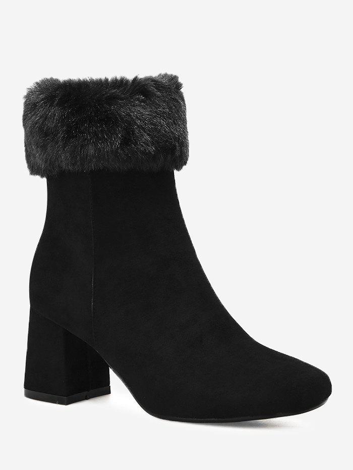 Chunky Heel Fold Over Mid Calf Boots 231268705