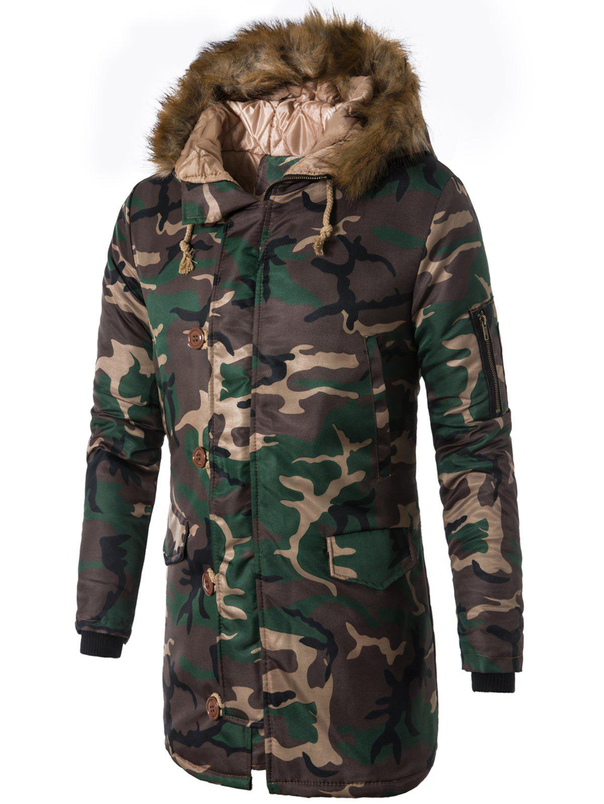 Image of Zip Up Camo Faux Fur Hooded Coat