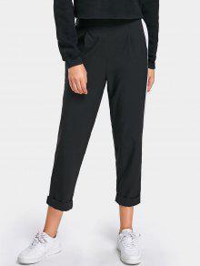 Hoch Taillierte, Lässige Zweifarbige Hose - Schwarz S