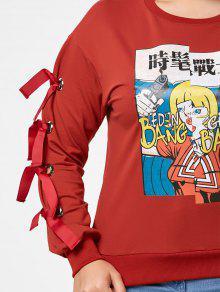 cee43906da1 31% OFF  2019 Cartoon Print Plus Size Lace Up Sweatshirt In RED 4XL ...
