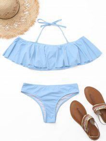Flounce Off The Shoulder Bikini Set - Azul Claro L
