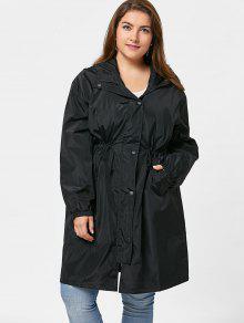 لباس الخندق الحجم الكبير زر طويل مع غطاء الرأس - أسود 2xl